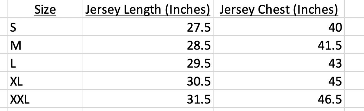 Mitchell & Ness Jerseys Size Chart